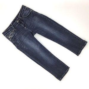L.A. idol Cropped Dark Blue Wash Jeans, 29